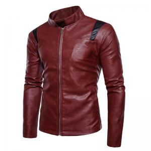 Men's Casual Round Neck Long Sleeve Regular PU Jacket Coat -