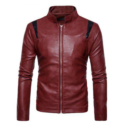 Shops Men's Casual Round Neck Long Sleeve Regular PU Jacket Coat