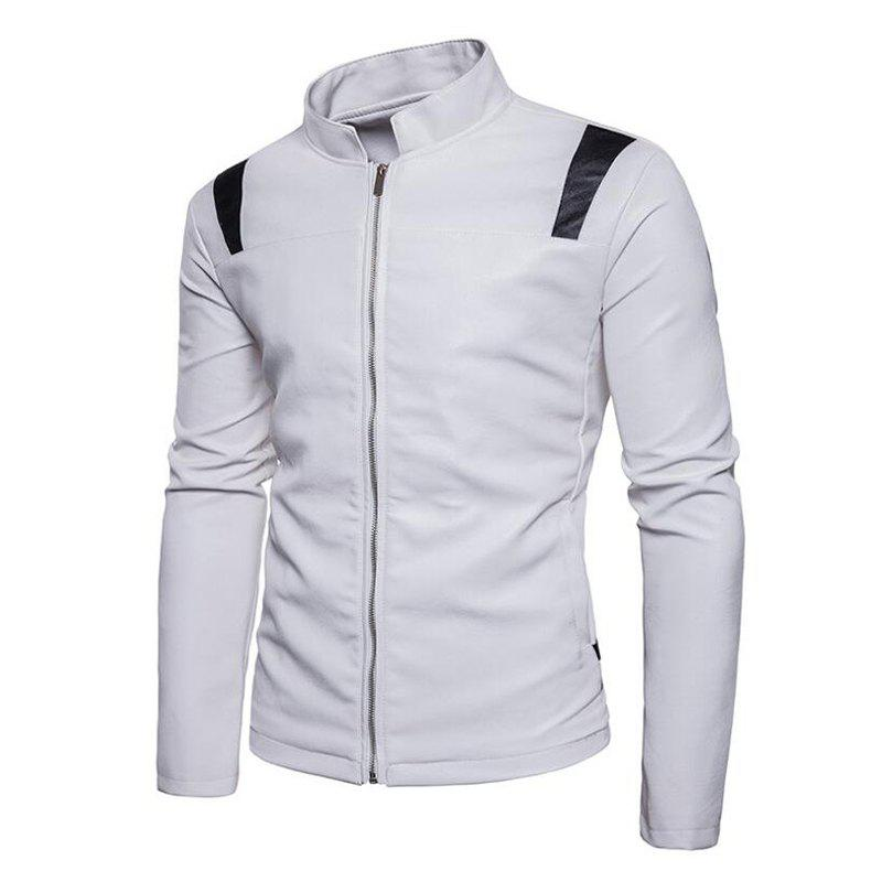 Fashion Men's Casual Round Neck Long Sleeve Regular PU Jacket Coat