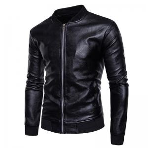 Men's Casual Stand Neck Long Sleeve Regular PU Jacket Coat -