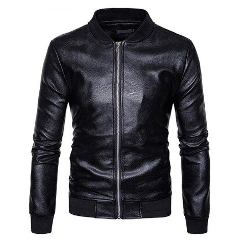 Shops Men's Casual Stand Neck Long Sleeve Regular PU Jacket Coat