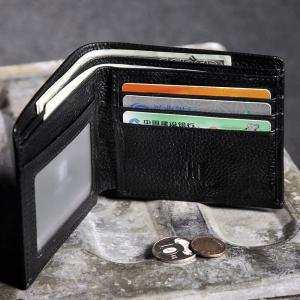HAUT TON Full Grain Leather Men Minimalist Basic Multi-Card Bifold Wallet -