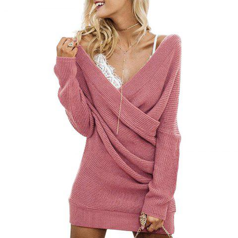 Trendy Cross V-neck Long Sleeve Solid Color Dress