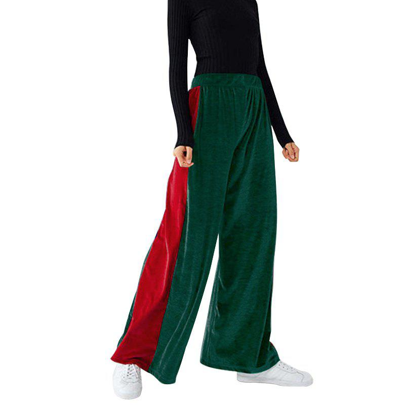Discount Fashion Casual Contrast Color Wide Leg Pants