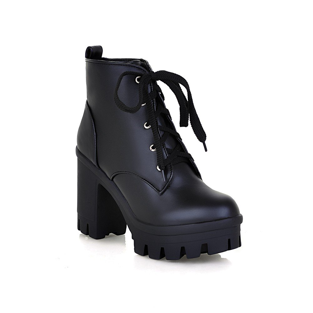 c6cb1f45440 Lace Up Shoes Chunky Heel Platform Plus Size Women's Combat Boots