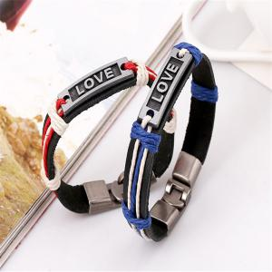 Stylish Alloy Buckle Letter Pattern Lovers' Bracelet Accessory -