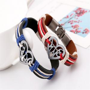 Heart Pattern Color Block Alloy Buckle Lovers' Bracelet Accessory -