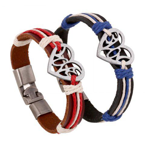Cheap Heart Pattern Color Block Alloy Buckle Lovers' Bracelet Accessory