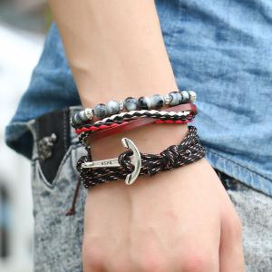 Men'S Bracelet Set All Match Casual Beads Accessory -