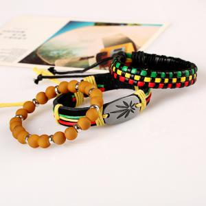 Men's Bracelet Set Color Block Beads Charms Accessory -
