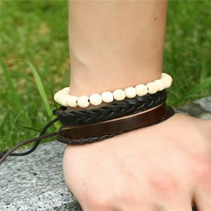 Men's Bracelet Set Adjustable Fashionable Accessory -