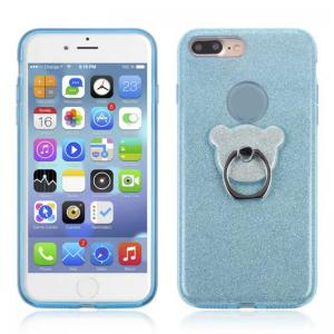 Translucent Glitter TPU Mobile Phone Protection Case with Stent for iPhone 8 Plus / 7 Plus -