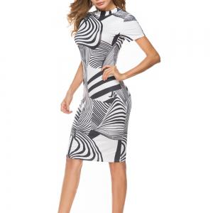 Women'S Dress Striped Printing Short Sleeve Hip Dress -
