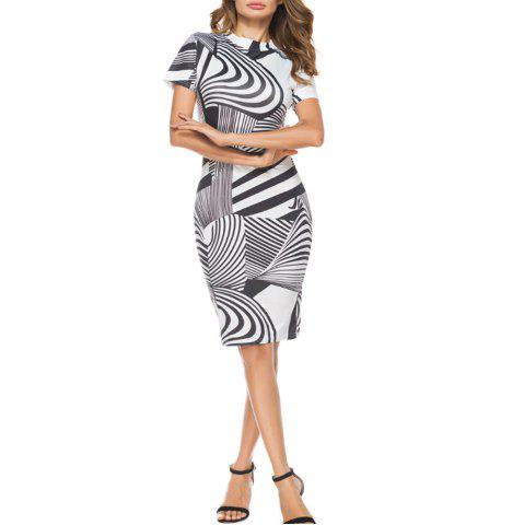 Outfit Women'S Dress Striped Printing Short Sleeve Hip Dress