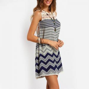 Sleeveless Lace Striped Print Dress -