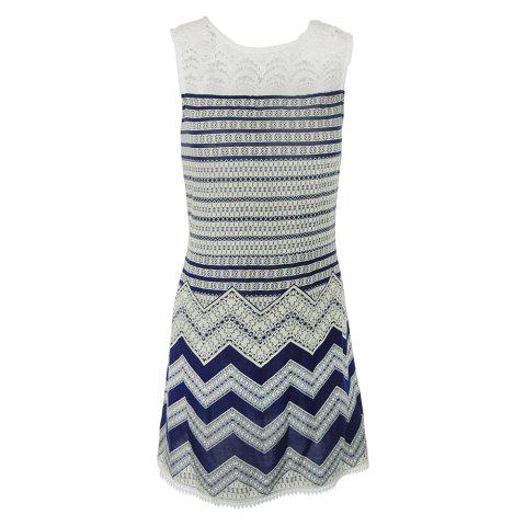 Fancy Sleeveless Lace Striped Print Dress