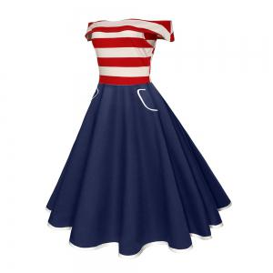 Women'S Dress 1950S Striped Spell Vintage Hepburn Dress -
