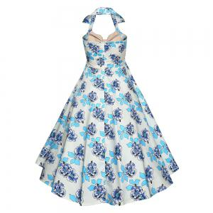 Hepburn Printed Cotton Neck Halter Dress Small Dress -