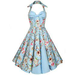 Women'S Dress Sexy Cotton Hepburn Printed Neck Halter Dress -
