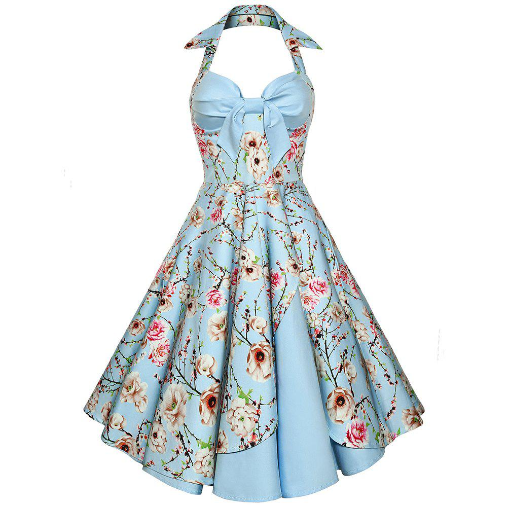 Hot Women'S Dress Sexy Cotton Hepburn Printed Neck Halter Dress