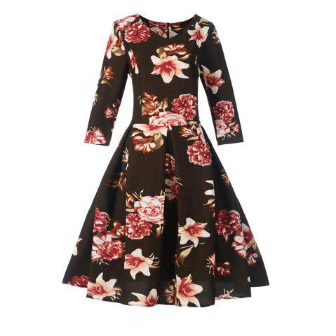 Online Women'S Dress Printed Hepburn Vintage Dress