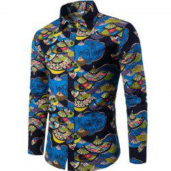 Autumn and Winter New Men's Long Sleeves Printed Floral Beach Shirts  Night Clubs Shirts -