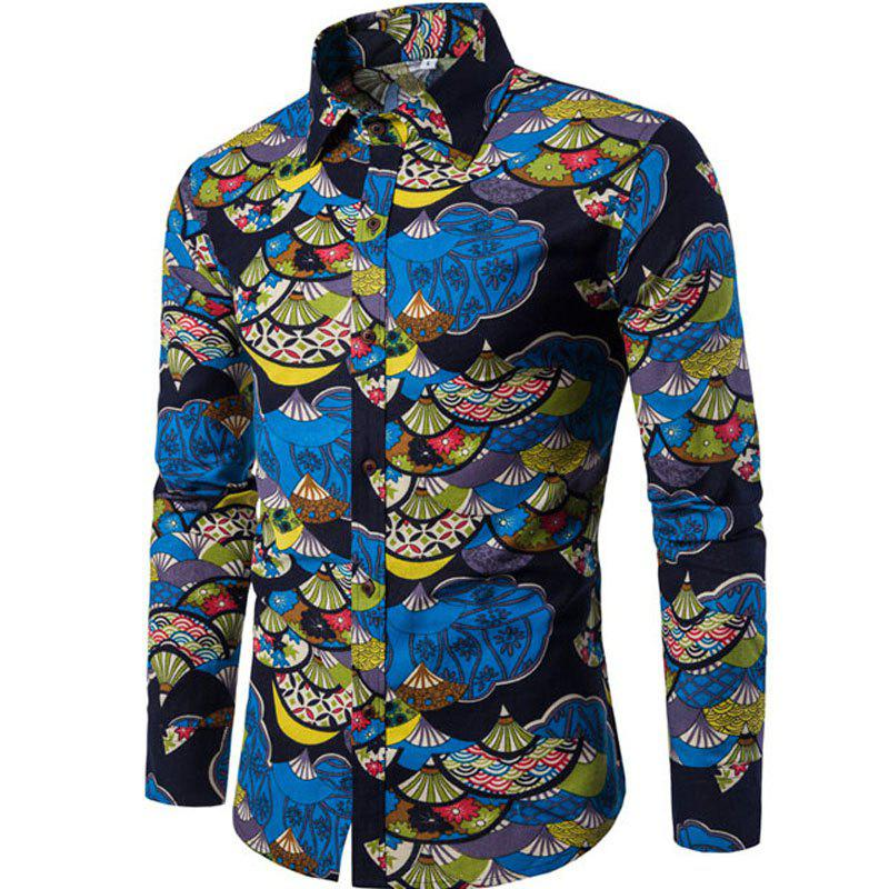 Outfits Autumn and Winter New Men's Long Sleeves Printed Floral Beach Shirts  Night Clubs Shirts