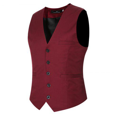 Fancy Men's Classic Formal Business Slim Fit Chain  Vest Suit Tuxedo Waistcoat
