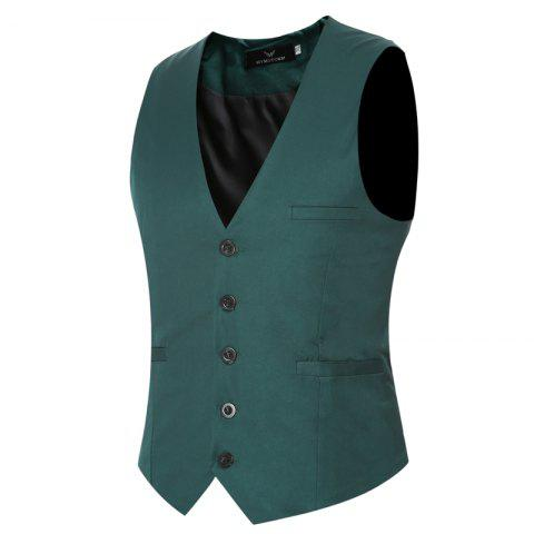 Best Men's Classic Formal Business Slim Fit Chain  Vest Suit Tuxedo Waistcoat
