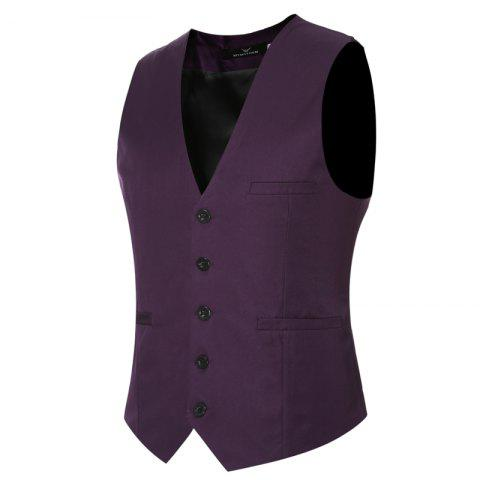 Outfits Men's Classic Formal Business Slim Fit Chain  Vest Suit Tuxedo Waistcoat