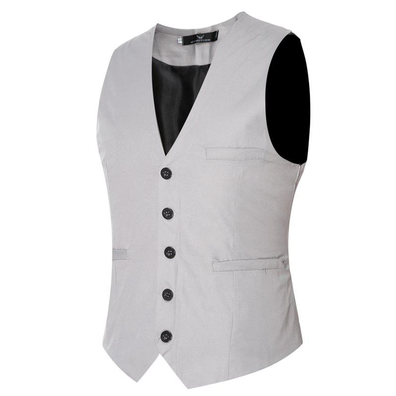 Discount Men's Classic Formal Business Slim Fit Chain  Vest Suit Tuxedo Waistcoat