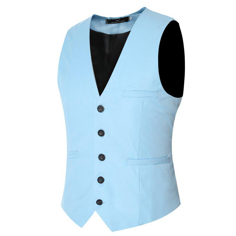 Fashion Men's Classic Formal Business Slim Fit Chain  Vest Suit Tuxedo Waistcoat