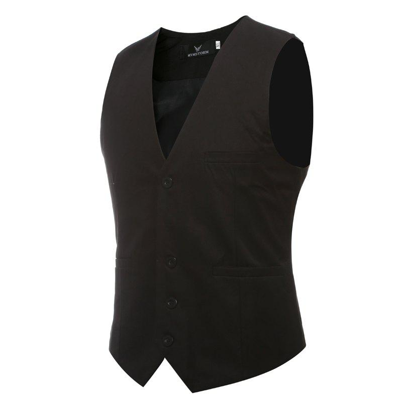 Affordable Men's Classic Formal Business Slim Fit Chain  Vest Suit Tuxedo Waistcoat