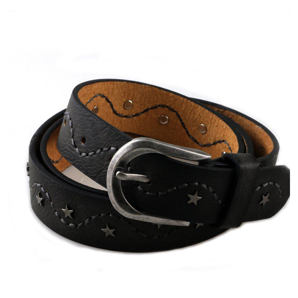 Fancy Women's Studded Leather Belt with Star and Embroider