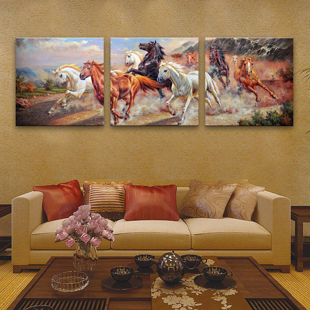 Fashion Special Design Frameless Paintings Horses running 3PCS