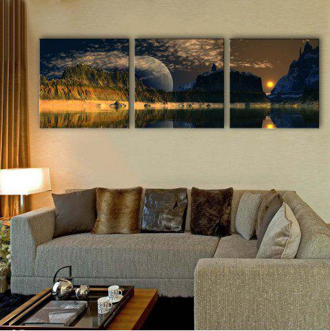 Best Special Design Frameless Paintings The mountain sunrise 3PCS