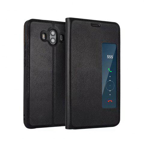 Affordable Wkae Genuine Cowhide Leather Smart Cover Case with View Window for Huawei Mate 10