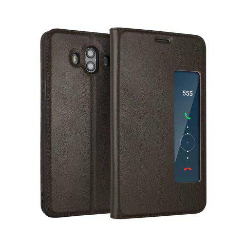 Latest Wkae Genuine Cowhide Leather Smart Cover Case with View Window for Huawei Mate 10