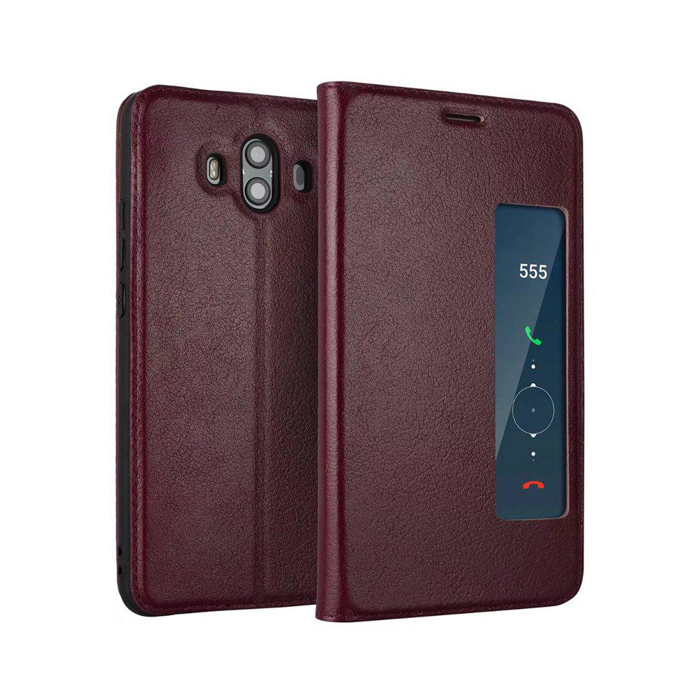 Buy Wkae Genuine Cowhide Leather Smart Cover Case with View Window for Huawei Mate 10