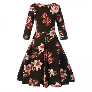 Women's Fashion Dress Vintage Floral Pattern Chic Dress -