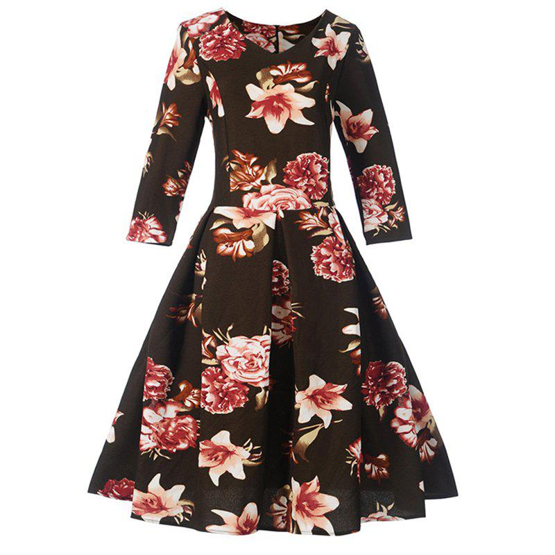 Fancy Women's Fashion Dress Vintage Floral Pattern Chic Dress