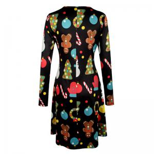 Women's Aline Dress Floral Print Pattern Long Sleeve Midi Dress -