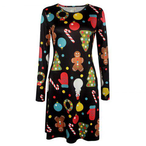Shops Women's Aline Dress Floral Print Pattern Long Sleeve Midi Dress
