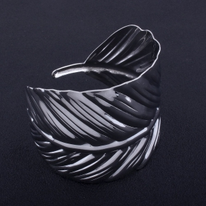 2017 New Fashion Design Leaf-Shaped Opening Alloy Bangles Charm Bracelets Jewelry -