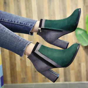 Winter and Winter New Color Textured Suede Side Zipper Heel Pointed Fashion Short Boots -