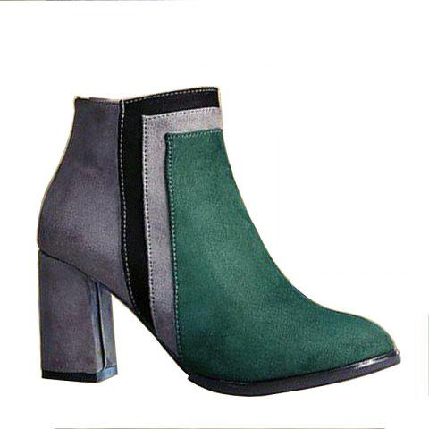 Best Winter and Winter New Color Textured Suede Side Zipper Heel Pointed Fashion Short Boots