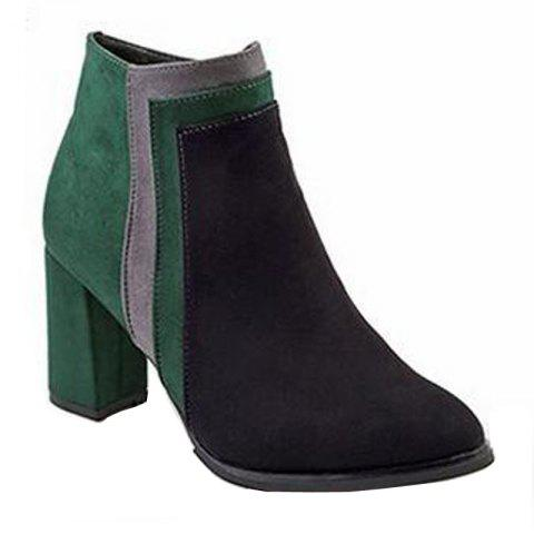 Shops Winter and Winter New Color Textured Suede Side Zipper Heel Pointed Fashion Short Boots