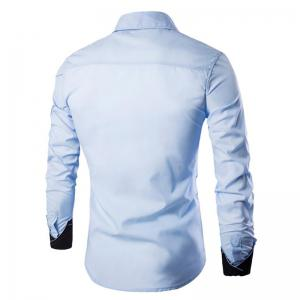 Men's Casual Simple Spell Color Long Sleeves Shirts -