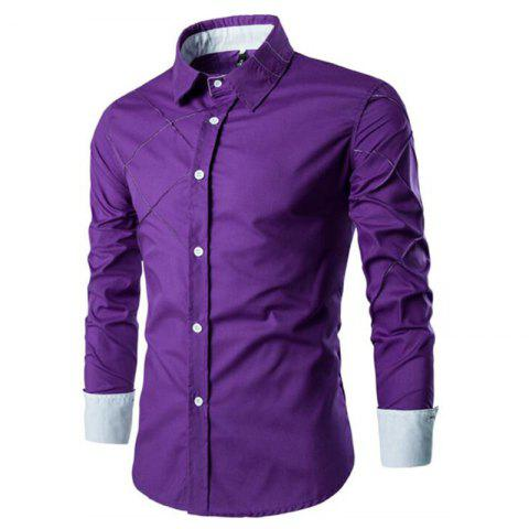 Fancy Men's Casual Simple Spell Color Long Sleeves Shirts