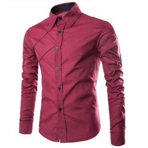 Cheap Men's Casual Simple Spell Color Long Sleeves Shirts